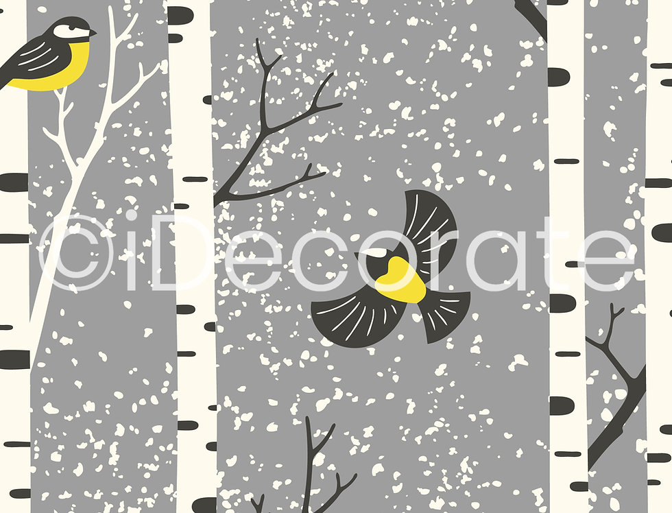 Birch Trees And Birds Wallpaper