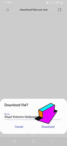 "Mobile phone screenshot with an arrow pointing to the ""download"" button"