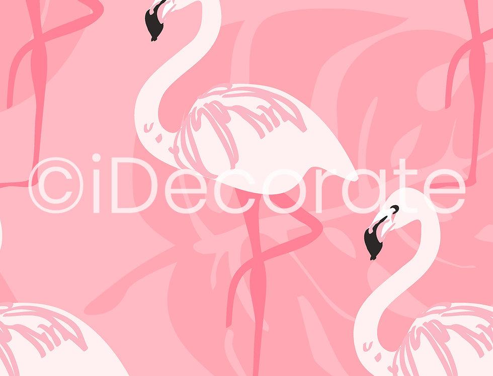 Pink Flamingo Patterned Wallpaper