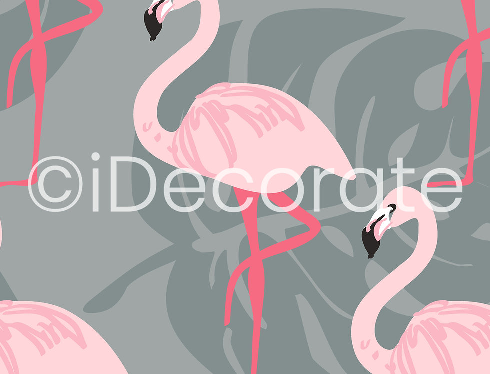 Flamingo Patterned Wallpaper (Grey And Pink)