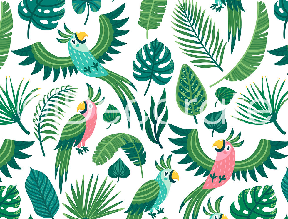 Parrots And Palm Leaves Wallpaper