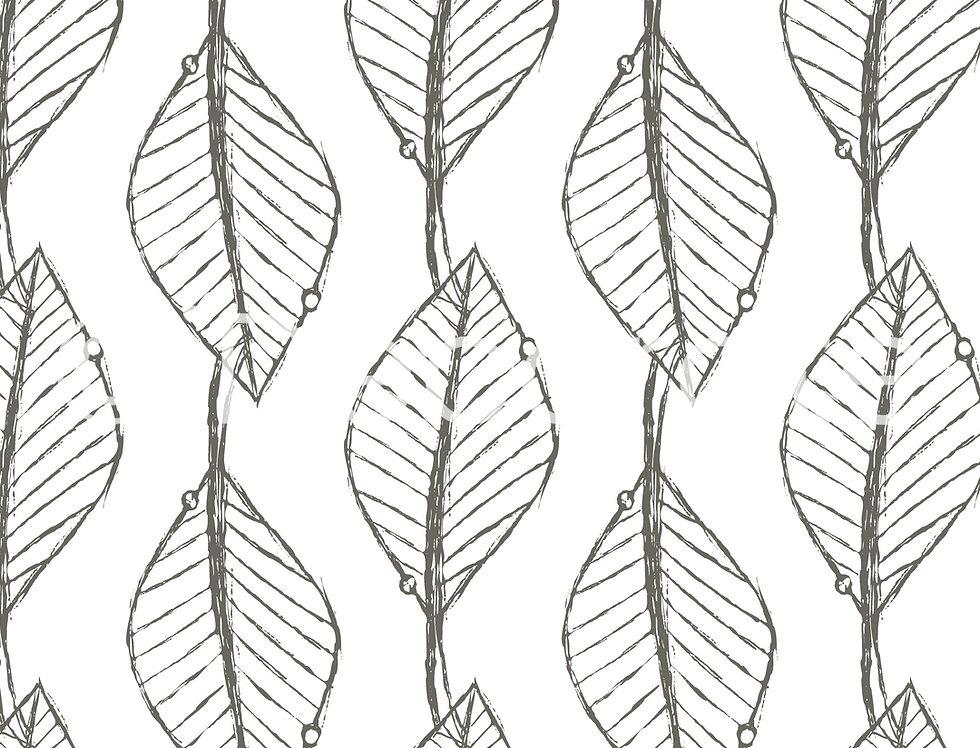 Doodle Leaves Patterned Wallpaper