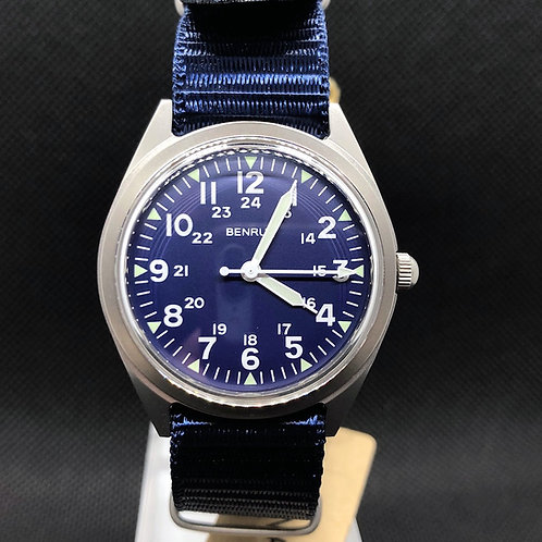 BENRUS BR763SS-NV MILITARY Re-issue SS-NAVY
