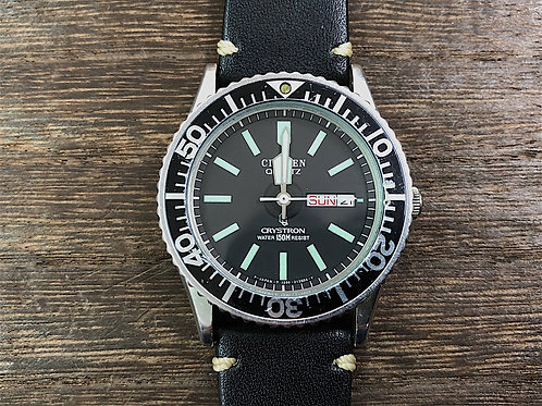 希少1980年代 CITIZEN CRYSTRON DIVER Cal.1250 OH済み