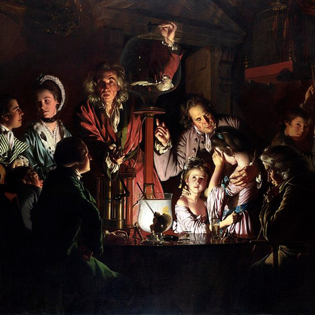 Experiment op een vogel in een luchtpomp (Joseph Wright of Derby)