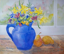 """""""Blue Pitcher with Pears""""©"""