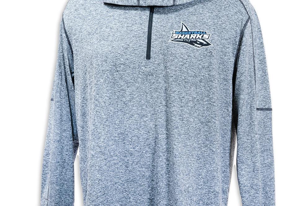Gray Hooded 1/4 Zip Pullover