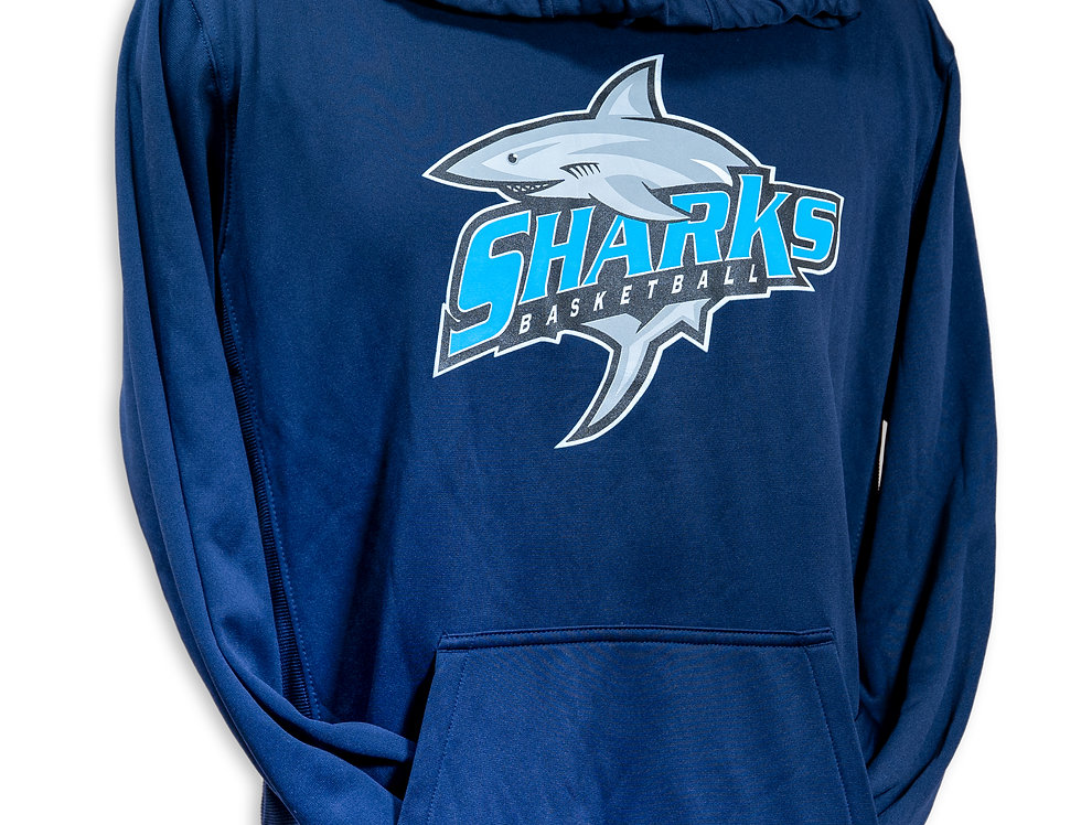 Navy Blue Sharks Dri-Fit Hoodie