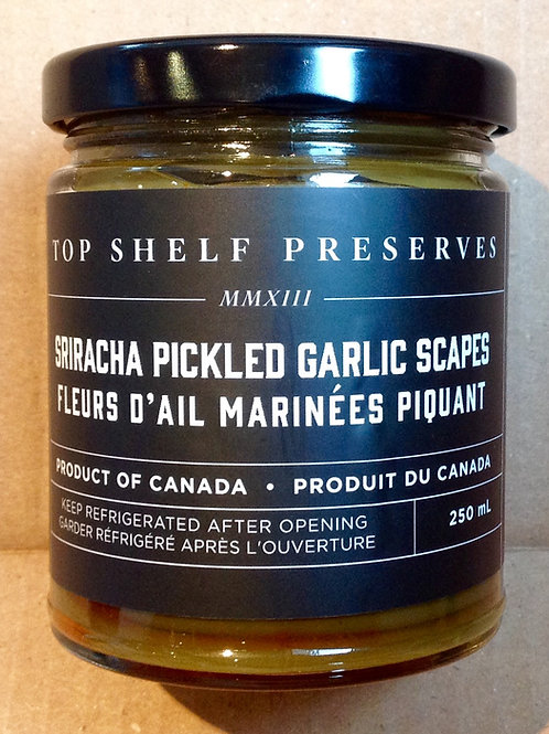 Top Shelf Sriracha Pickled Garlic Scapes