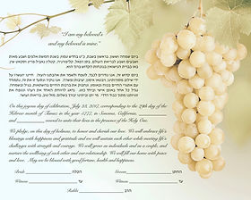 Grape, vineyard theme ketubah