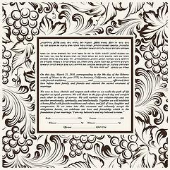 Black and white grape scroll ketubah