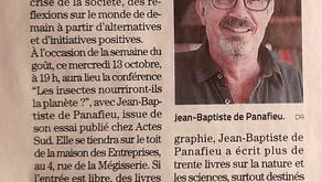 [Revue de presse] Midi libre sur la venue de JB de Panafieu