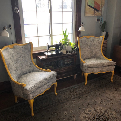 Antique curved windback chairs