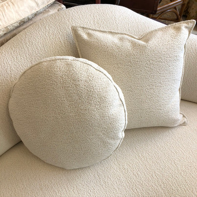 Round and Topstitched pillows