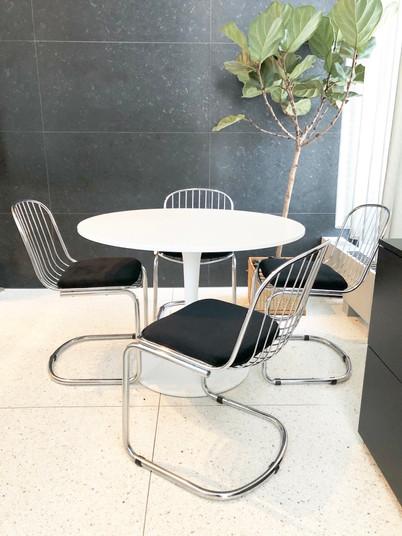 Milo Baughman style chrome chairs