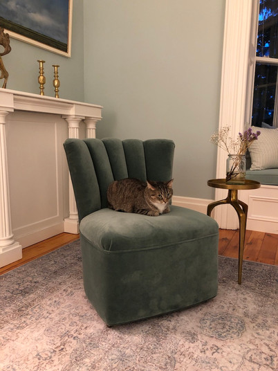 Vintage channel backed slipper chair