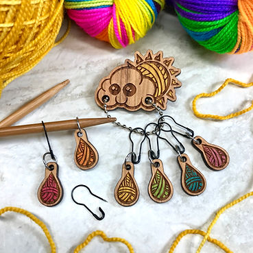 StitchMINDERs stitchmarker pin set DKGraham yarn rainbow