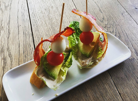 A classic combination of bacon, lettuce, tomatoes but with added avocado and a gem of a quails egg