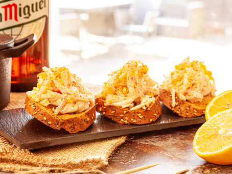 Pintxo of Faux Crab topped with grated egg
