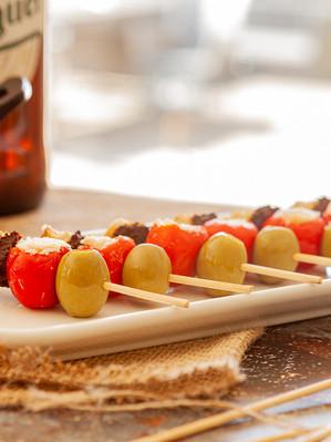 Pintxo of Pepper stuffed with feta, olives and alden's Mojo Rojo Pesto