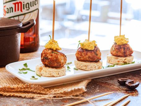 Pintxo of Spiced meatballs & alden's Romesco