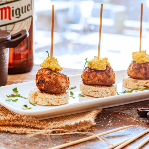 Meatballs with Almond pesto