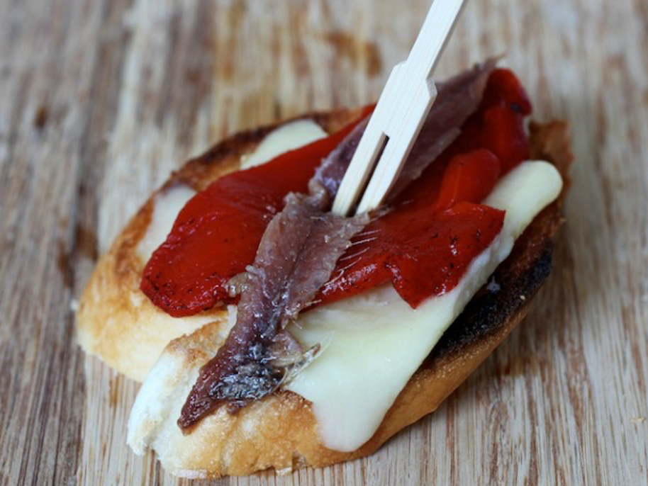 Anchovy, Red Pepper, and Manchego PintxosTapas.com