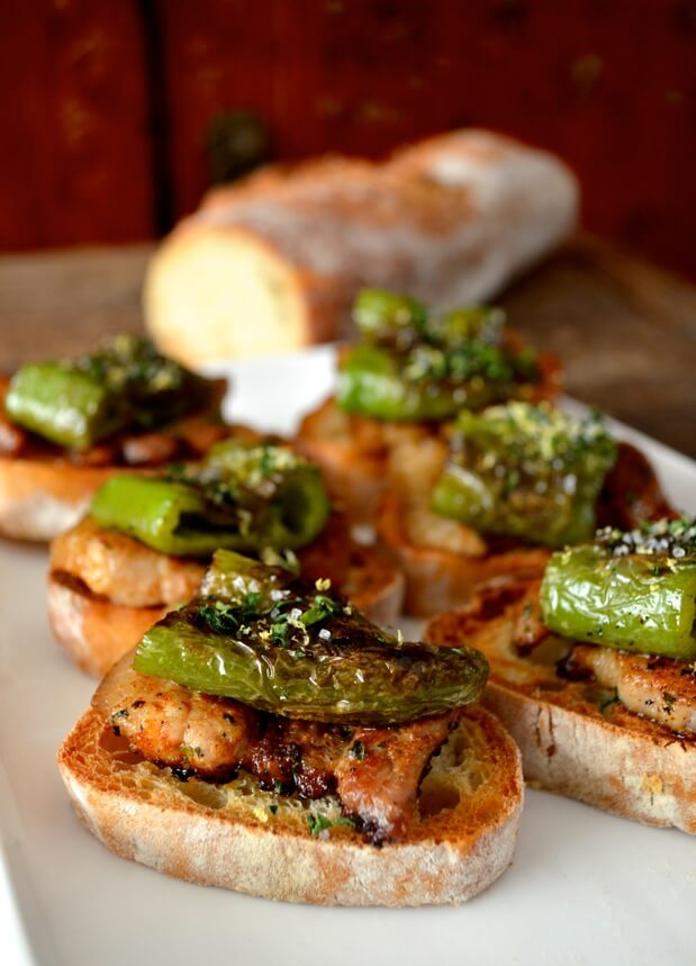 Seared Pork Belly & green pepper pintxoTapas.com