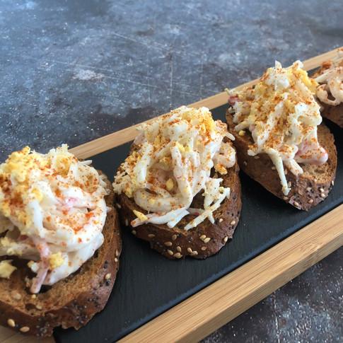 Pintxo faux crabmeat & egg