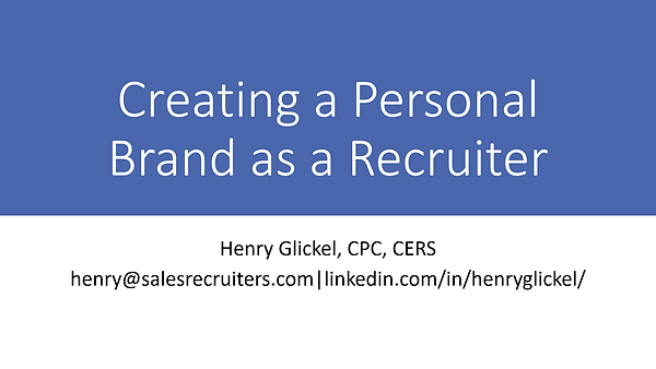 Creating a Personal Brand as a Recruiter