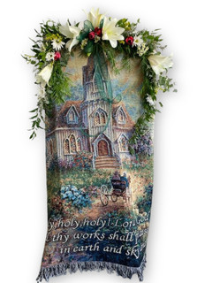 Memorial Blanket with flowers