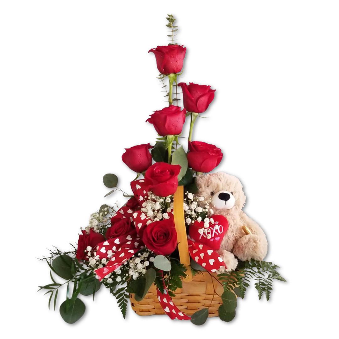 Rose & Bear Arrangement