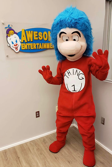 Columbus, Ohio Dr. Seuss party characters, Thing 1 costume character rentals, Ohio