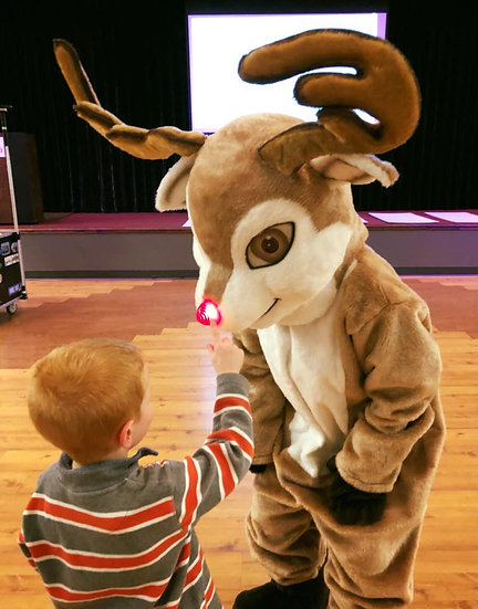 Columbus Ohio Holiday entertainers for hire, Rudolph Mascot characters party entertainment Columbus Ohio