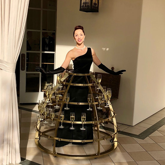 Columbus, Ohio HUMAN CHAMPAGNE DRESS - Cocktail drink dress server,  CHAMPAGNE DRESS Server Ohio