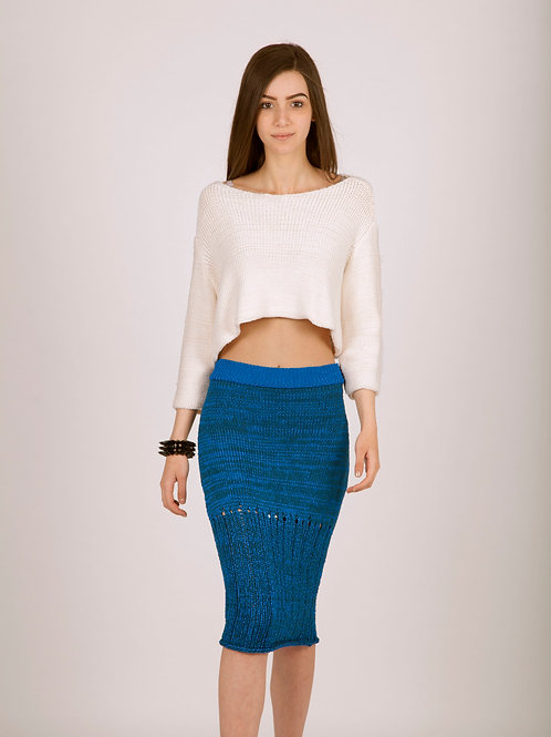 Knitted pencil skirt with ladder detailing