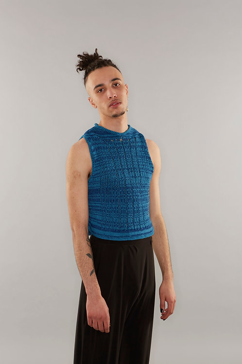 Knitted vest with ladder detailing