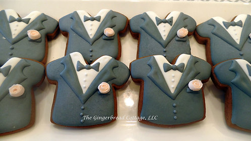 "3 1/2"" Wedding Groom Tux Cookie - Dozen"