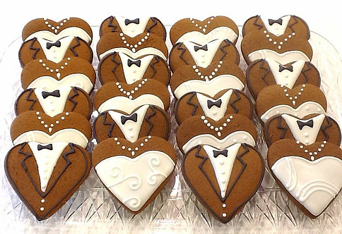 Bride & Groom Heart Cookies - Dozen