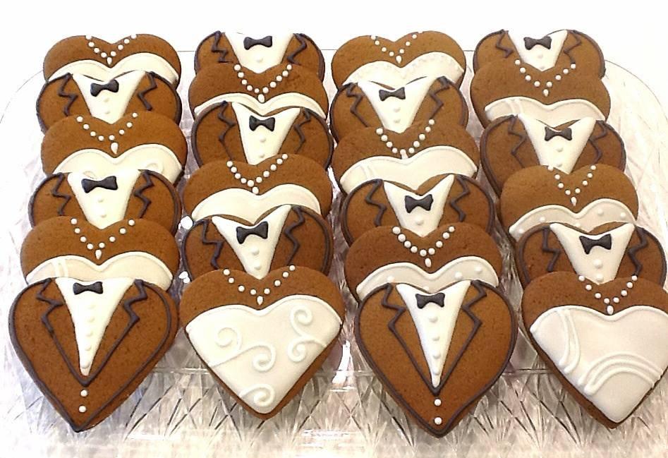 Bride Groom Heart Cookies Dozen
