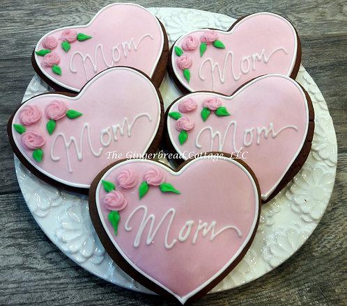 """Mother's Day Heart Cookies """"Mom"""" -Half Dozen"""