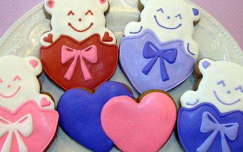 Valentine Bear/Heart Cookies - Half Dozen (6)
