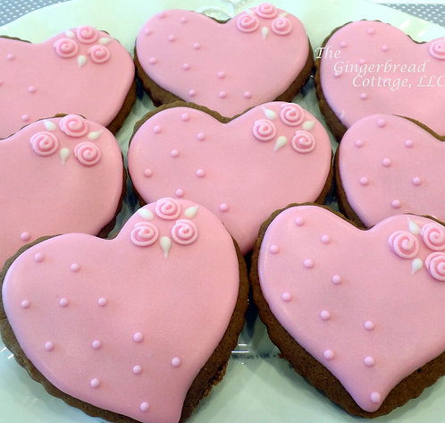 "Elegant Heart Cookie 4"" - Dozen"