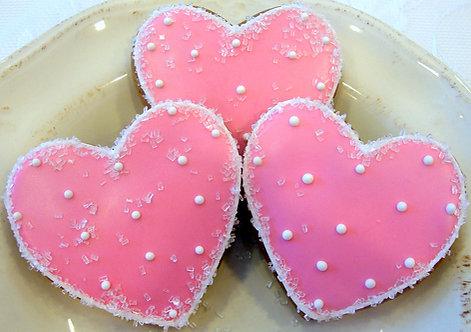 Pink Heart Cookies - Dozen