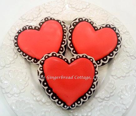 """Valentine Heart Cookies 5"""" - Half Dozen (6)"""