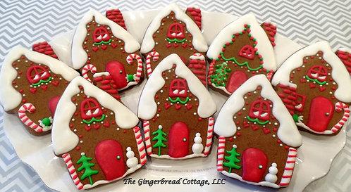 """5"""" Gingerbread House Cookies - Dozen"""