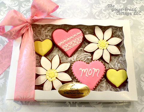Mother's Day Daisy & Heart Cookie Gift ~ 6