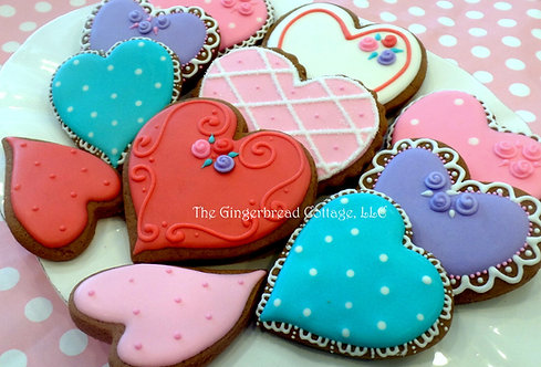 Elegant Heart Cookies ~ Dozen
