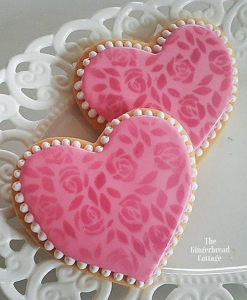 Valentine Rose Heart Cookies - 3