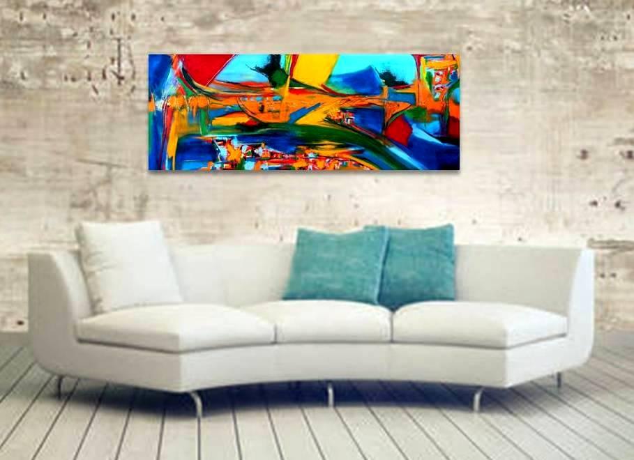 """תנועה בצבע"""" ציור מופשט מקורי שמן על קנבס"""""""